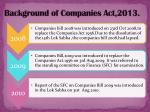 background of companies act 2013