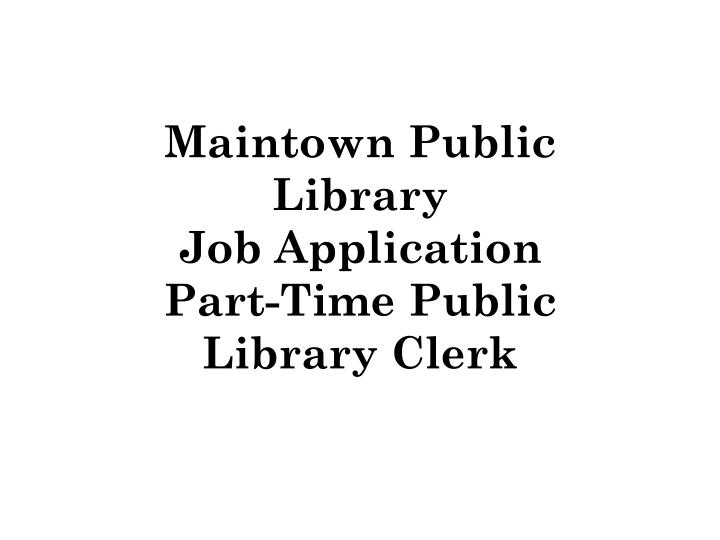 Maintown Public Library