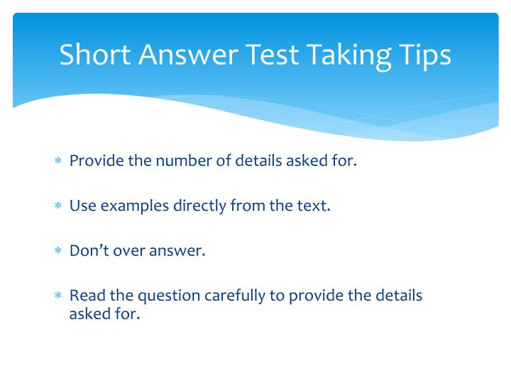 Short Answer Test