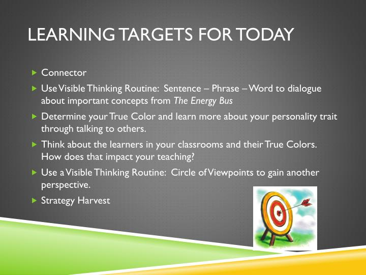 Learning targets for today