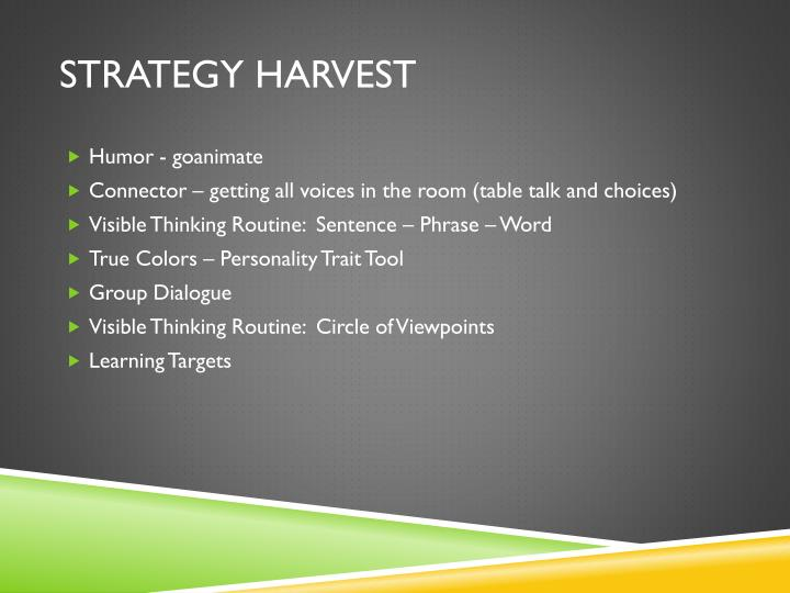Strategy harvest