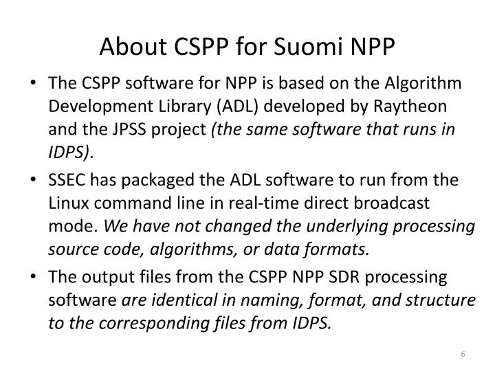 About CSPP for Suomi NPP