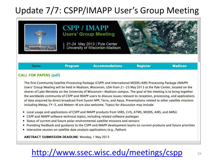 Update 7/7: CSPP/IMAPP User's Group Meeting