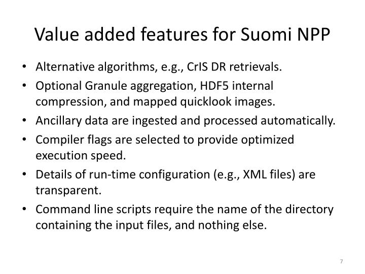 Value added features for Suomi NPP