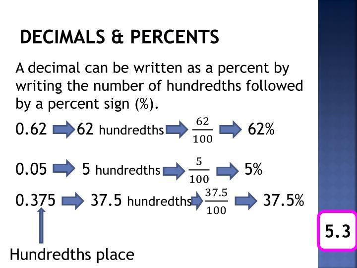 Decimals & percents