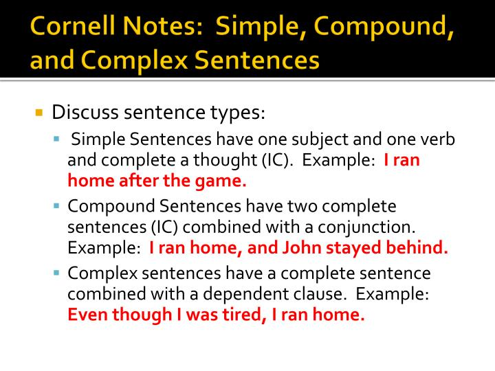 Cornell notes simple compound and complex sentences