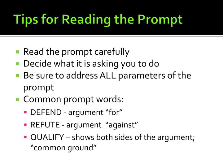 Tips for Reading the Prompt