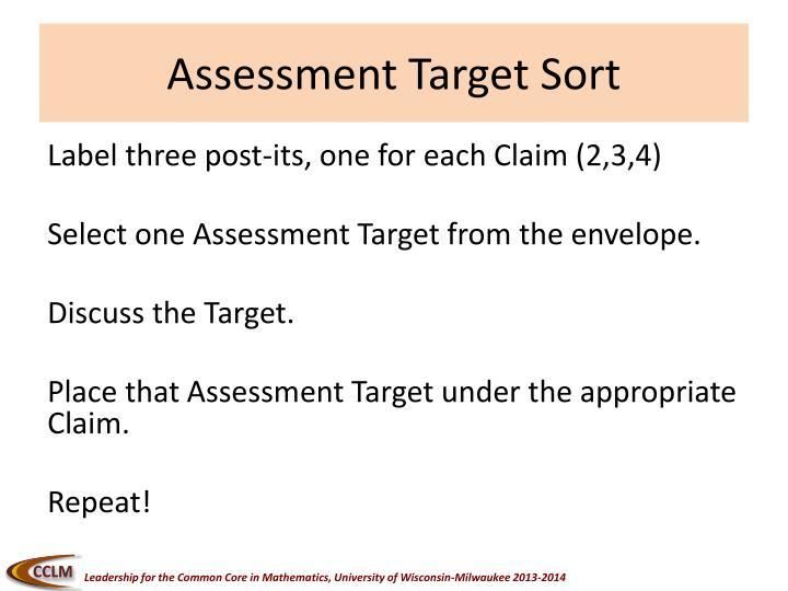 Assessment Target Sort