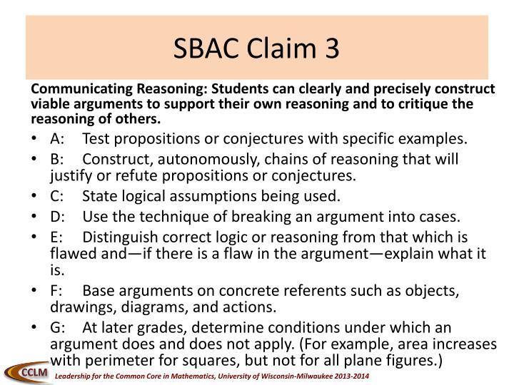 SBAC Claim 3