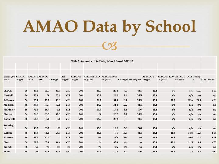AMAO Data by School