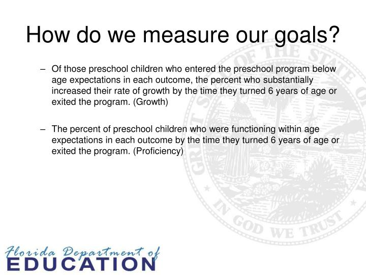 How do we measure our goals?