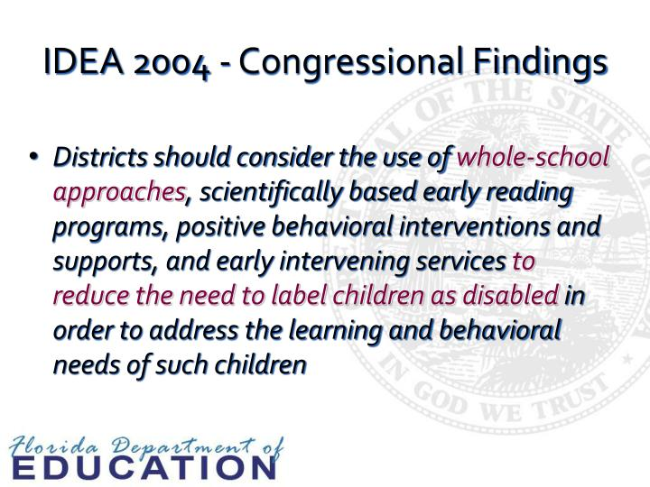 IDEA 2004 - Congressional Findings