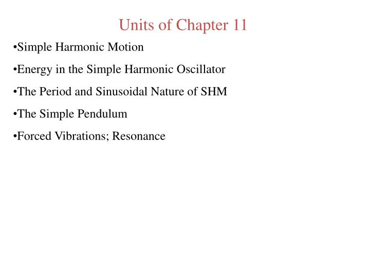 Units of Chapter 11