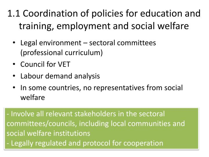 1 1 coordination of policies for education and training employment and social welfare