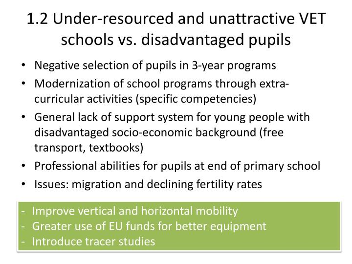 1.2 Under-resourced and unattractive VET schools vs. disadvantaged pupils