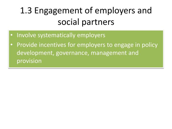 1.3 Engagement of employers and social partners