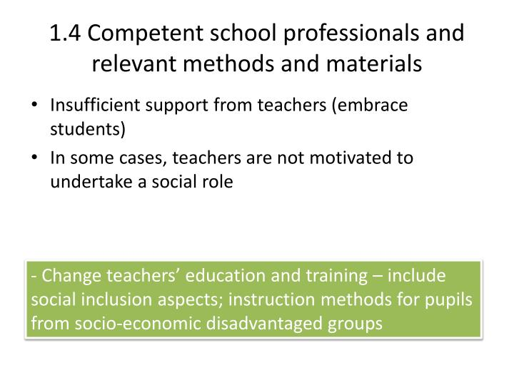 1.4 Competent school professionals and relevant methods and materials