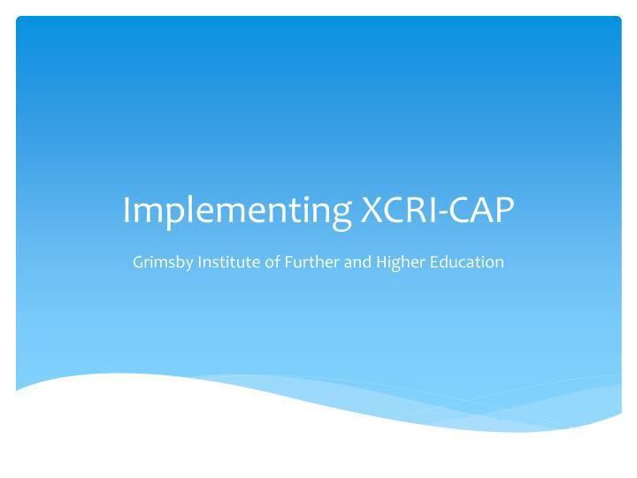 Implementing XCRI-CAP