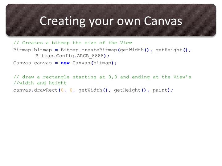 Creating your own Canvas