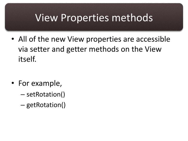 View Properties methods