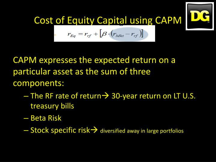 Cost of Equity Capital using CAPM