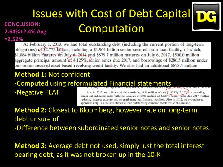 Issues with Cost of Debt Capital Computation