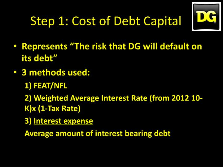 Step 1: Cost of Debt Capital