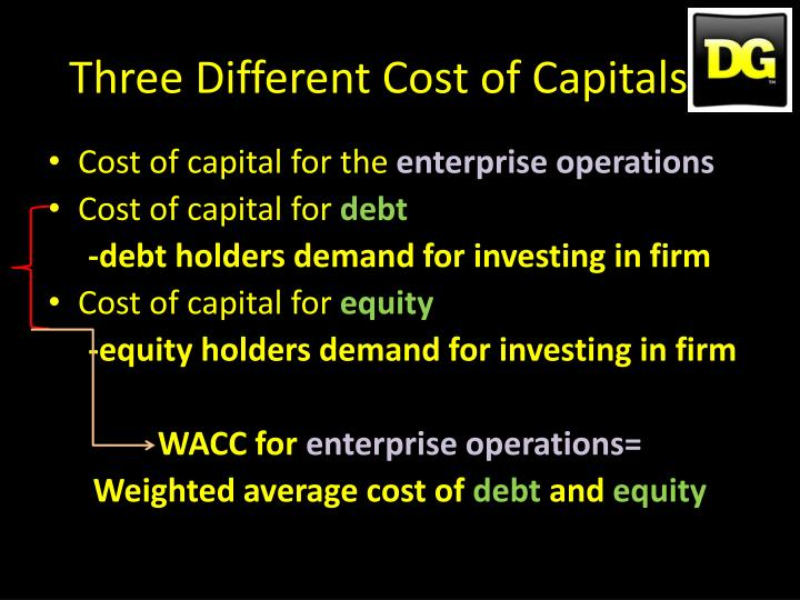 Three Different Cost of Capitals