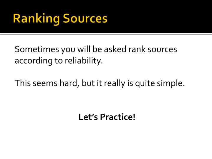 Ranking Sources