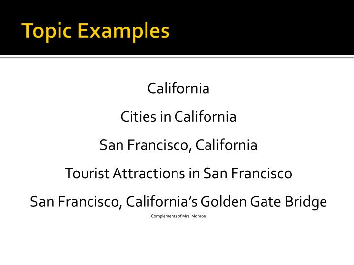 Topic Examples