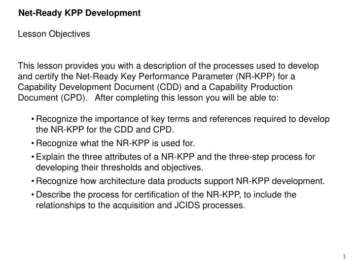Net-Ready KPP Development