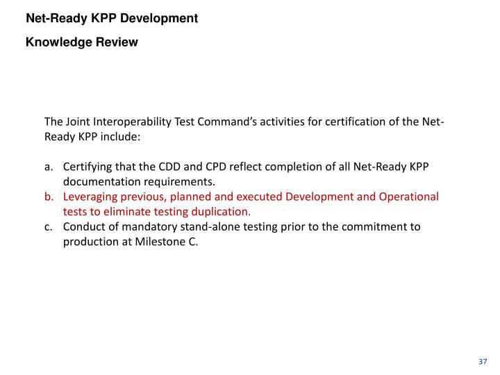 Net-Ready KPP Development