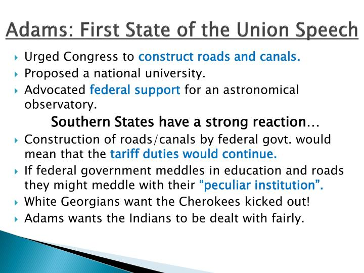 Adams: First State of the Union Speech