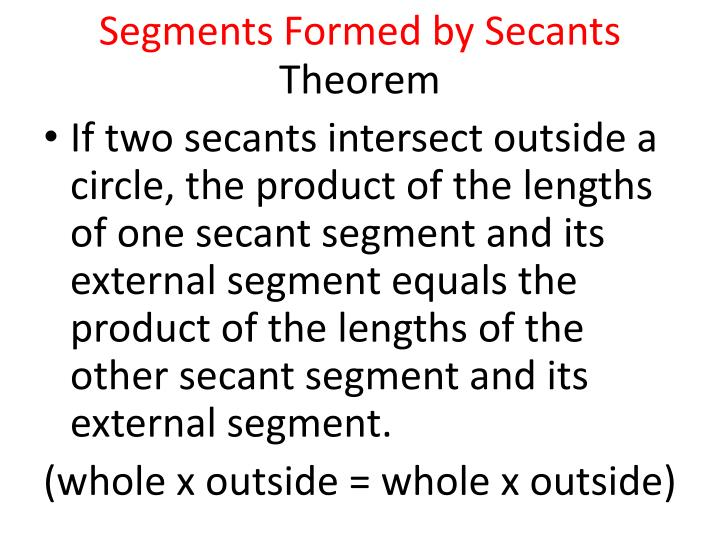 Segments Formed by Secants