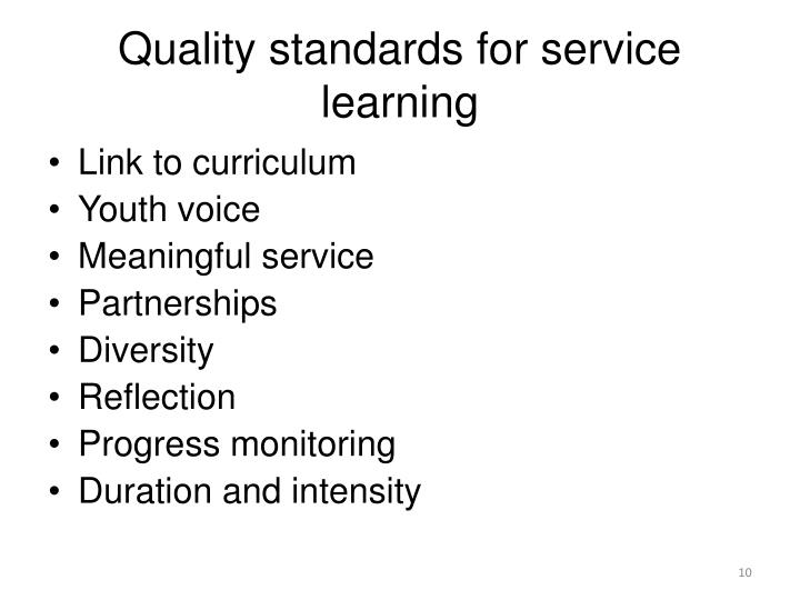 Quality standards for service learning