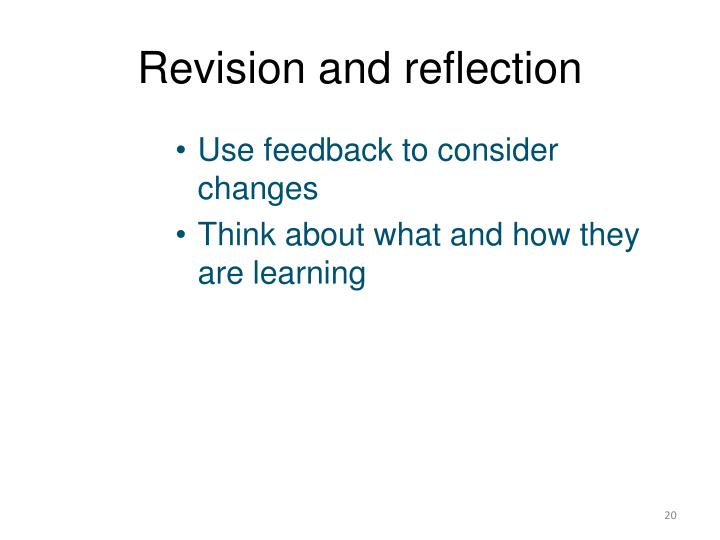 Revision and reflection