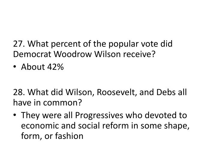 27. What percent of the popular vote did Democrat Woodrow Wilson receive?