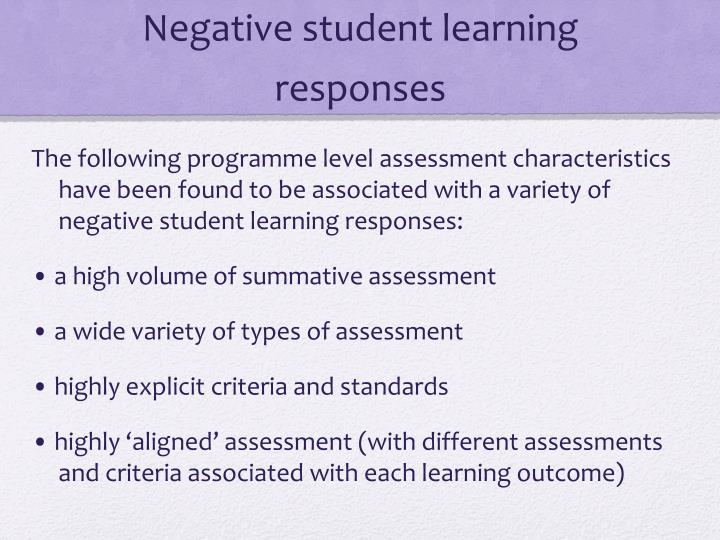 Negative student learning responses