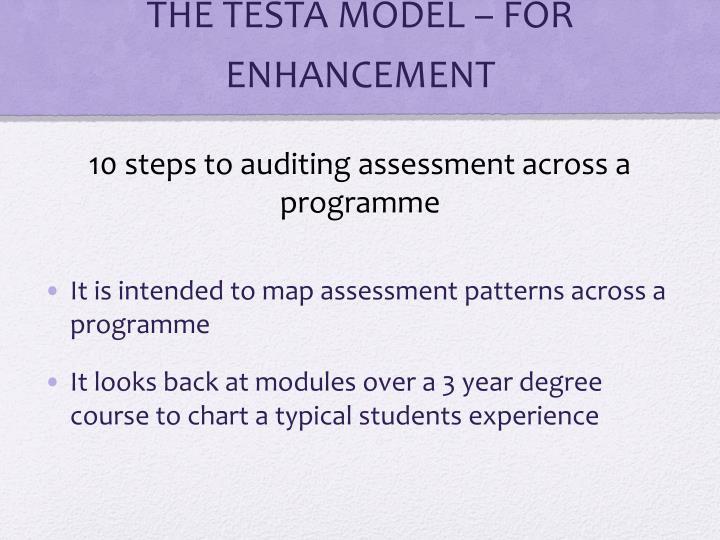 THE TESTA MODEL – FOR ENHANCEMENT