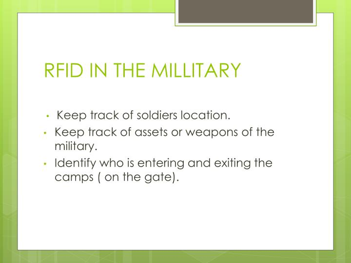 Rfid in the millitary