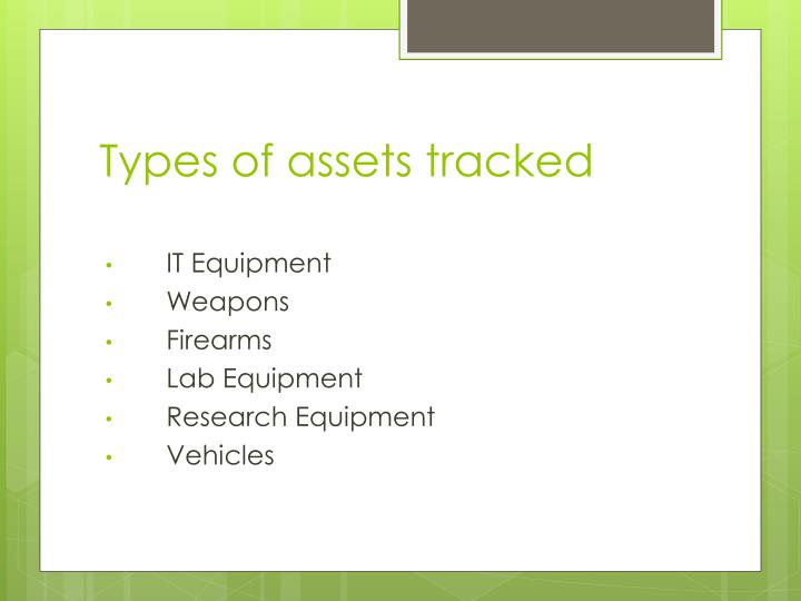 Types of assets tracked