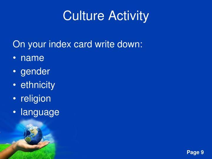 Culture Activity