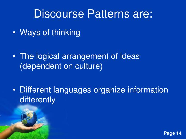 Discourse Patterns are: