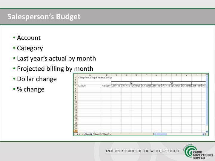 Salesperson's Budget