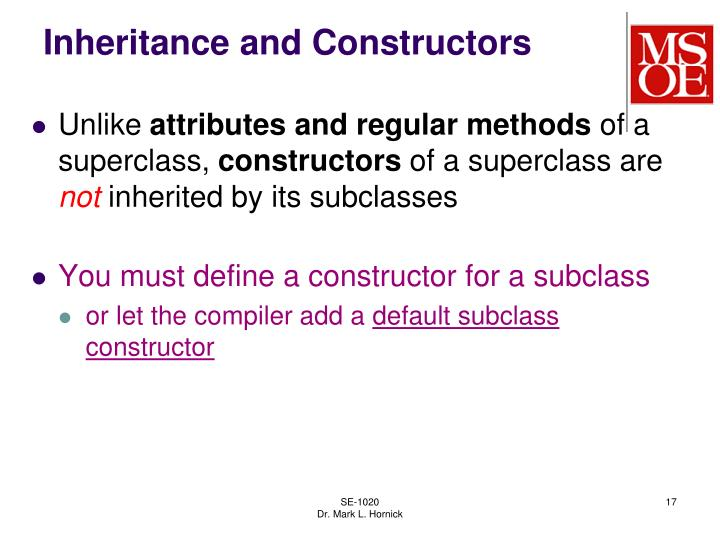 Inheritance and Constructors
