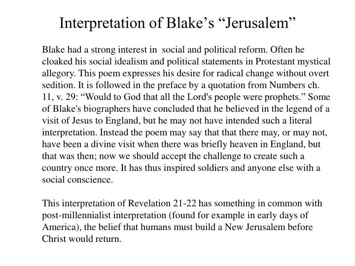 "Interpretation of Blake's ""Jerusalem"""