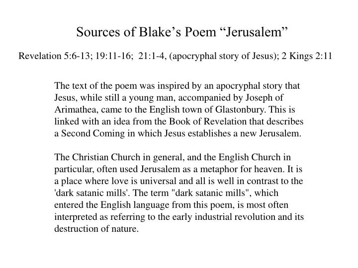 "Sources of Blake's Poem ""Jerusalem"""