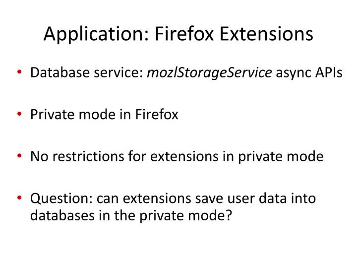 Application: Firefox Extensions