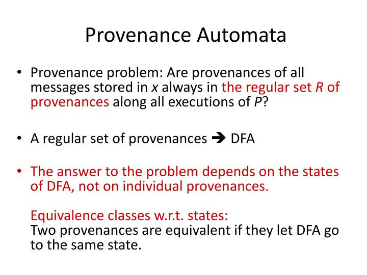 Provenance Automata