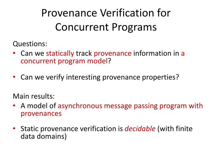 Provenance Verification for
